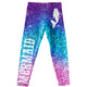 Mermaid Silhouette Purple Blue and Pink Glitter Leggings - Wimziy&Co.