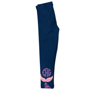 Mermaid Tail Monogram Navy Leggings