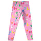 Hot pink and multicolor llamas girls leggings with name - Wimziy&Co.