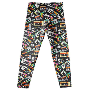Cassette Print Black Leggings - Wimziy&Co.