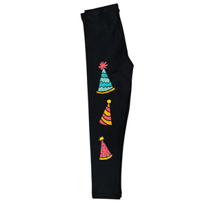 Black birthday leggings with party hats and monogram - Wimziy&Co.