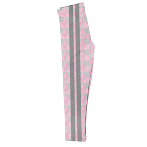 Geometric Gray Stripes Pink Leggings - Wimziy&Co.