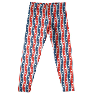 Stars Red And Navy Stripes Leggings - Wimziy&Co.