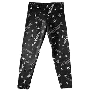 Stars and Name Print Black Leggings - Wimziy&Co.