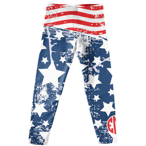 USA Flag Blue Leggings With Monogram - Wimziy&Co.