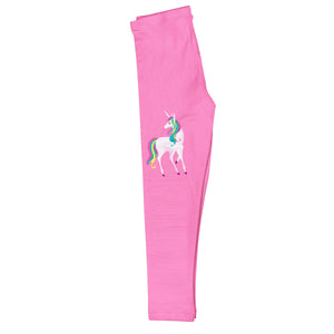 Pink and white unicorn girls leggings with name