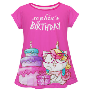 Hot pink short sleeve birthday unicorn blouse with name - Wimziy&Co.