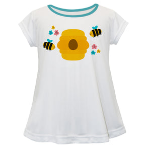 Bees Name White Short Sleeve Laurie Top - Wimziy&Co.