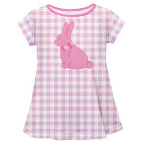 Bunny Monogram Pink Check Short Sleeve Laurie Top - Wimziy&Co.