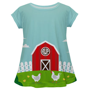 Farmer short sleeve blouse with monogram