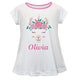 White and floral llama face short sleeve blouse with name