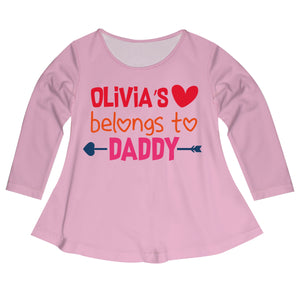 Belongs To Daddy Name Pink Long Sleeve Laurie Top - Wimziy&Co.