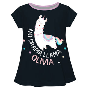 Black and white 'No drama llama' girls blouse with name