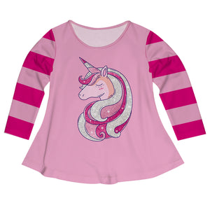 Glitter Unicorn Pink Stripes Long Sleeve Laurie Top - Wimziy&Co.