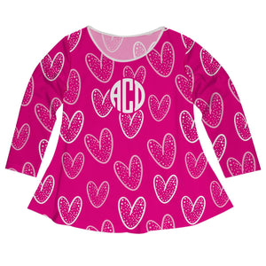 Hearts Print Monogram Hot Pink Long Sleeve Laurie Top - Wimziy&Co.