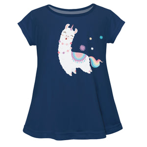 Navy and white llama girls blouse with name - Wimziy&Co.