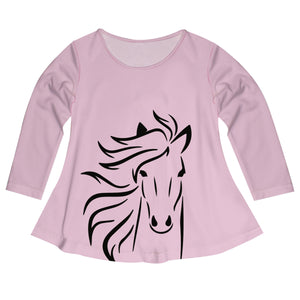 Light pink long sleeve blouse with horse and name