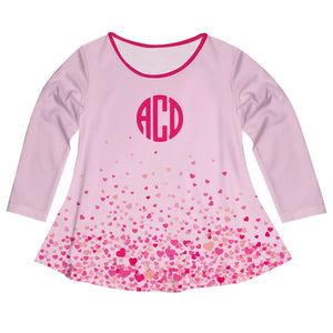 Hearts Print Monogram Pink Long Sleeve Laurie Top - Wimziy&Co.