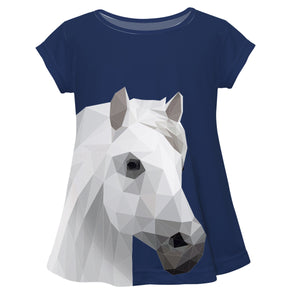 Navy short sleeve blouse and horse - Wimziy&Co.
