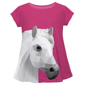 Hot pink short sleeve and horse - Wimziy&Co.