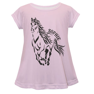 Light pink long sleeve blouse with horse