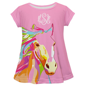 Hot pink short sleeve blouse with horse and monogram