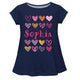 Hearts Name Navy Short Sleeve Laurie Top - Wimziy&Co.