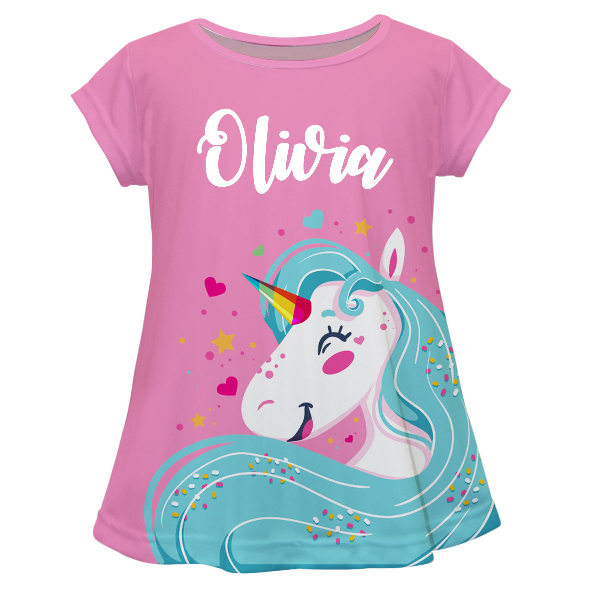 Light pink and aqua big unicorn girls blouse with name - Wimziy&Co.