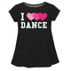Black 'I Love Dance' short sleeve girls blouse