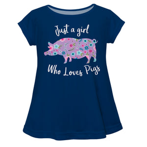 Just A Girl Who Loves Pigs Navy Short Sleeve Laurie Top - Wimziy&Co.