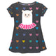 Gray and multicolor hearts llama girls blouse with name - Wimziy&Co.