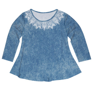 Lace And Blue Denim Long Sleeve Laurie Top - Wimziy&Co.