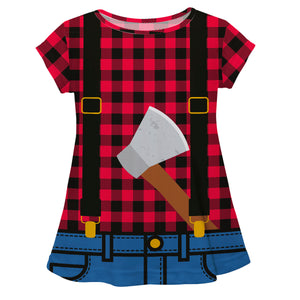 Girls lumberjack short sleeve blouse - Wimziy&Co.