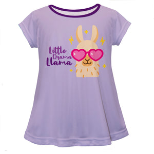 Purple and pink llama short sleeve girls blouse