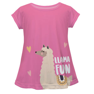 Pink and 'Fun purple' llama short sleeve blouse - Wimziy&Co.