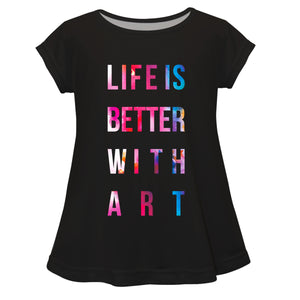 Life Is Better With Art Black Short Sleeve Laurie Top - Wimziy&Co.
