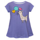 Purple and white llama girls blouse with monogram - Wimziy&Co.