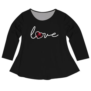 Girls black and white love long sleeve blouse - Wimziy&Co.