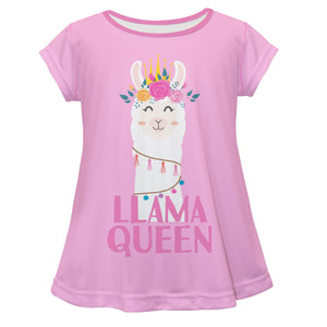 Pink 'Llama queen' short sleeve girls blouse - Wimziy&Co.