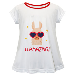 White and red llamazing girls blouse with name - Wimziy&Co.