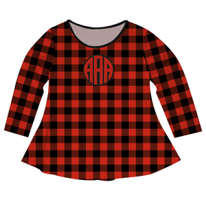Girls red buffalo plaid long sleeve blouse with monogram