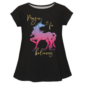 Magic Is For Believers Black Short Sleeve Laurie Top - Wimziy&Co.