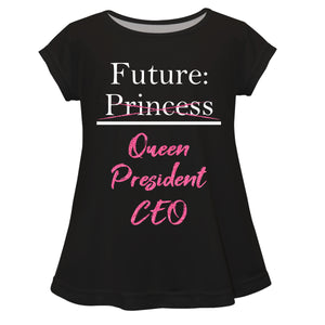 Future Queen President CEO Black Short Sleeve Laurie Top - Wimziy&Co.