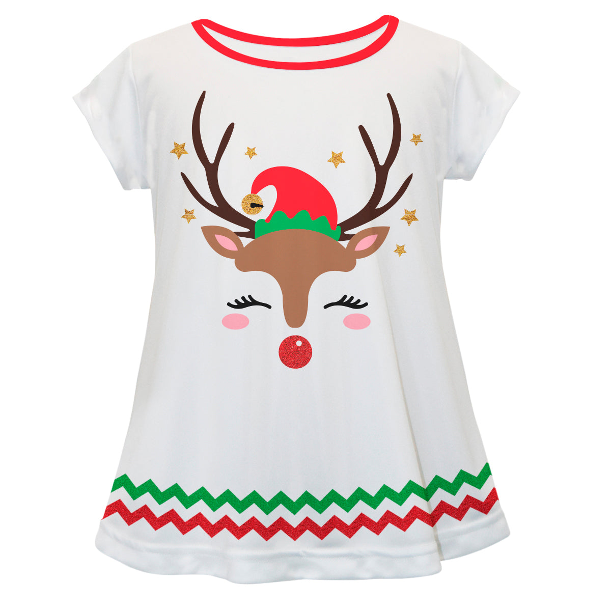 Reindeer White Short Sleeve Laurie Top - Wimziy&Co.