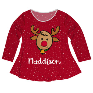 Red with polka dots, long sleeve reindeer blouse with name - Wimziy&Co.