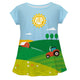 Farm landscape short sleeve girls blouse with monogram