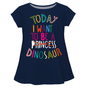 Today I Want To Be a Dinosaur Navy Short Sleeve Laurie Top - Wimziy&Co.