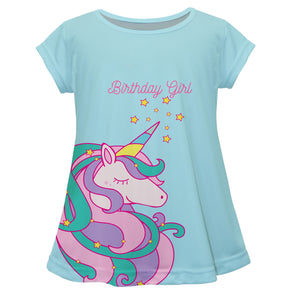 Aqua and pink big unicorn girls blouse with name - Wimziy&Co.
