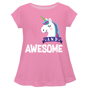 Pink and white unicorn girls blouse with number - Wimziy&Co.