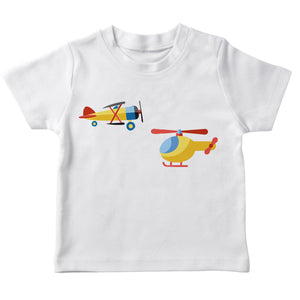 White short sleeve airplane birthday with name - Wimziy&Co.